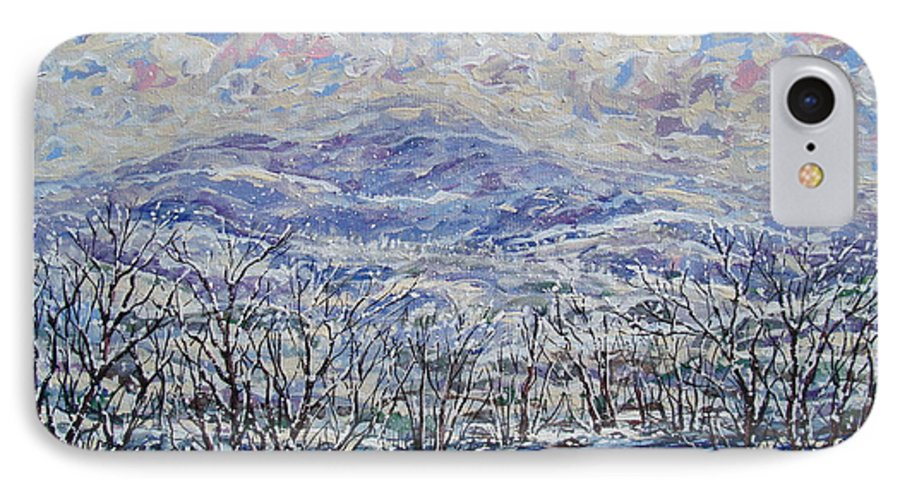 Landscape IPhone 7 Case featuring the painting Happy Winter. by Leonard Holland