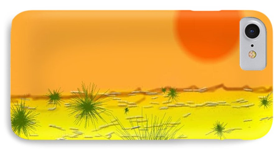 Sky.sun.desert.sand.heat.rare Bushes Of The Prickle.dust.dry. IPhone 7 Case featuring the digital art Hard Sun Of Desert by Dr Loifer Vladimir