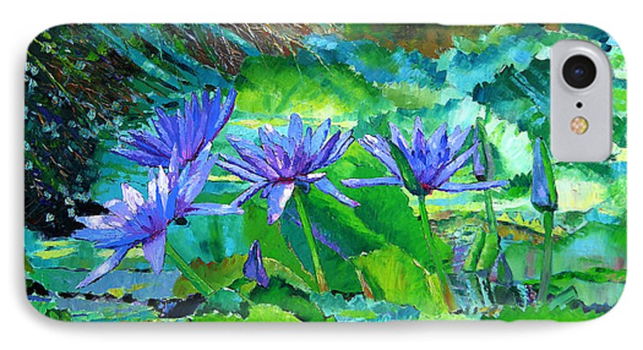 Purple Water Lilies IPhone 7 Case featuring the painting Harmony Of Purple And Green by John Lautermilch