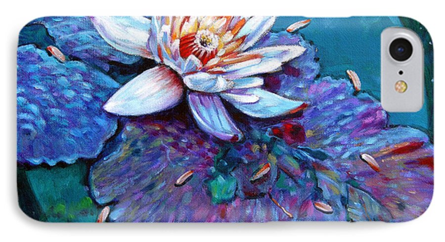 Water Lily IPhone 7 Case featuring the painting Harvest Moon by John Lautermilch