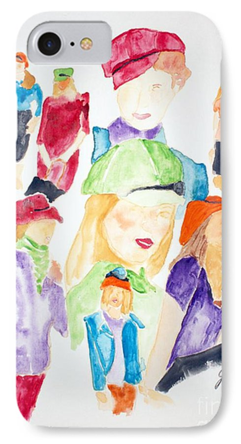 Hats IPhone 7 Case featuring the painting Hats by Shelley Jones