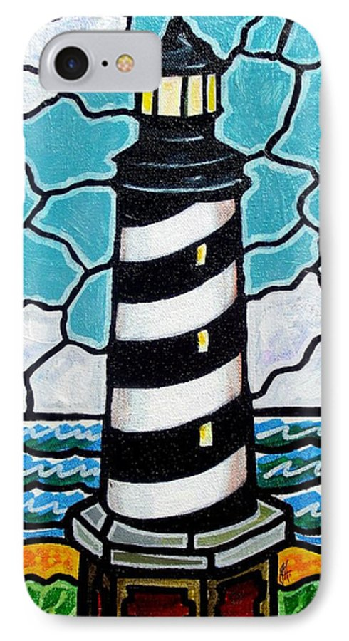 Lighthouse IPhone 7 Case featuring the painting Hatteras Island Lighthouse by Jim Harris