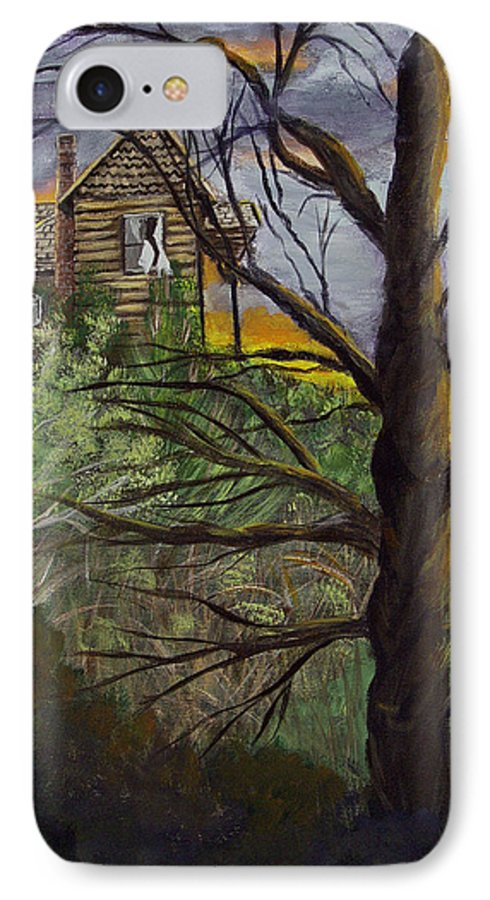 House IPhone 7 Case featuring the painting Haunted House by Quwatha Valentine