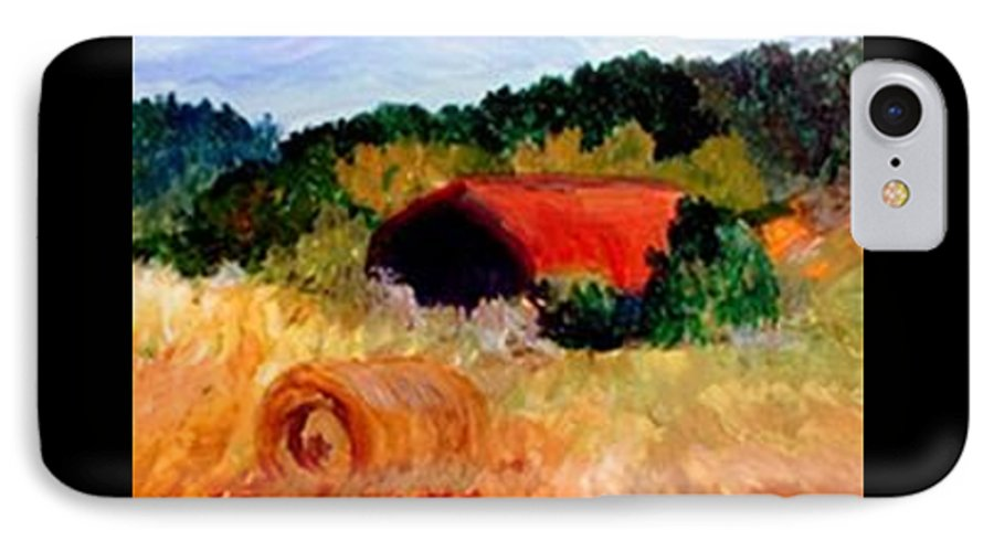 Hayrolls IPhone 7 Case featuring the painting Hayrolls by Gail Kirtz