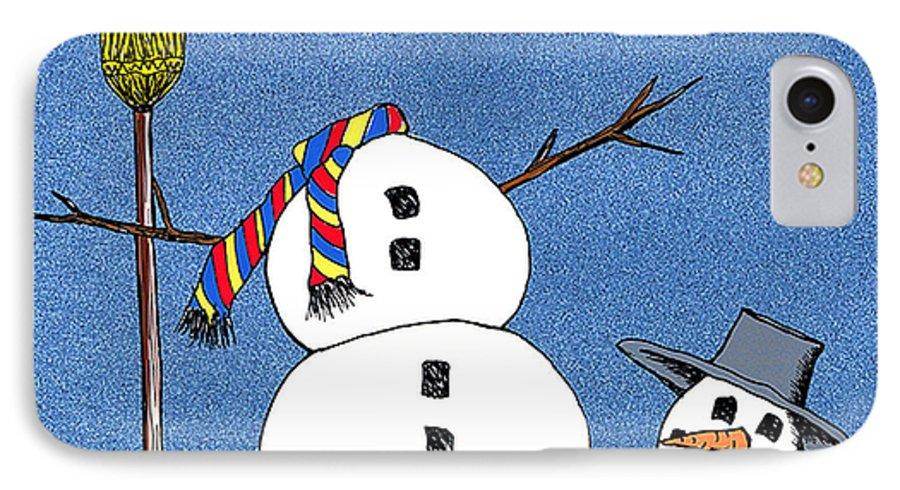 Snowman IPhone 7 Case featuring the digital art Headless Snowman by Nancy Mueller
