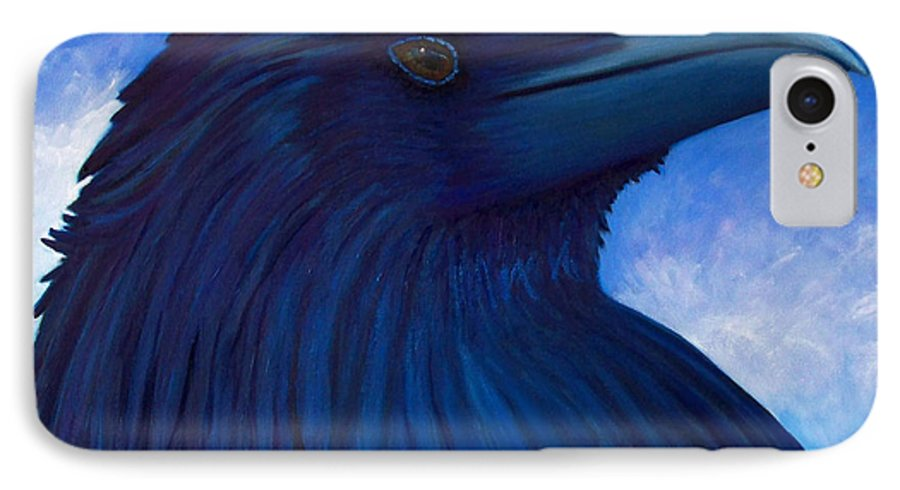 Raven IPhone 7 Case featuring the painting Heaven Bound by Brian Commerford