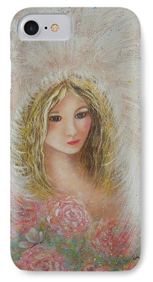 Angel IPhone 7 Case featuring the painting Heavenly Angel by Natalie Holland