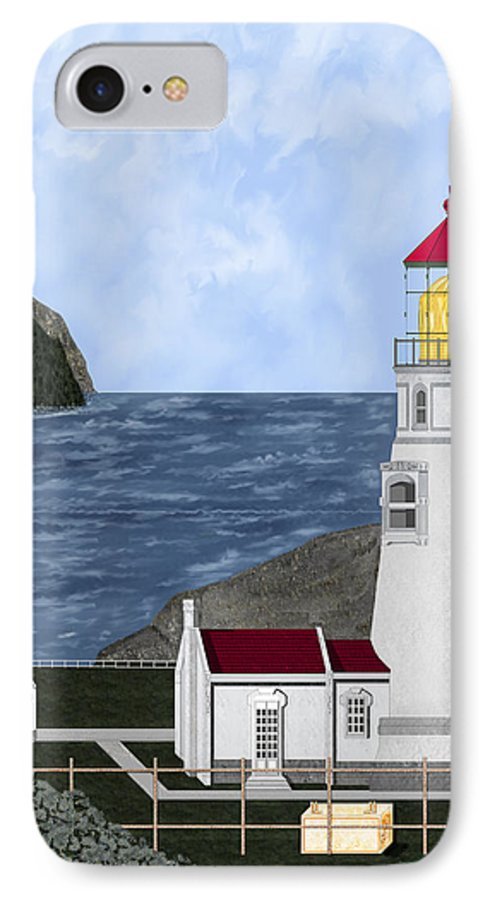 Lighthouse IPhone 7 Case featuring the painting Heceta Head Oregon by Anne Norskog