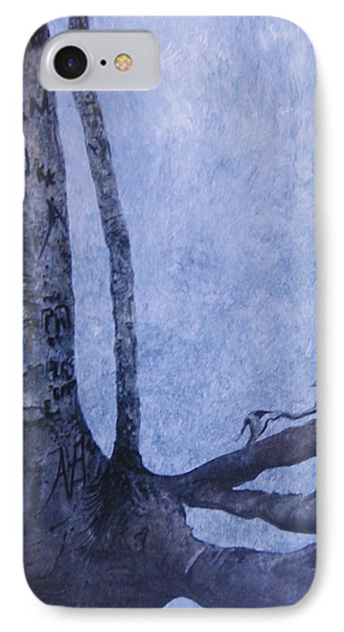 Tree Trunk IPhone 7 Case featuring the painting Hedden Park II by Leah Tomaino