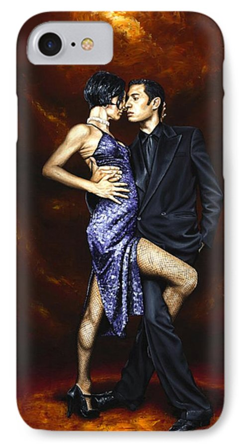 Tango Dancers Love Passion Female Male Woman Man Dance IPhone 7 Case featuring the painting Held In Tango by Richard Young