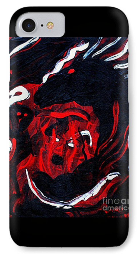 Horse Woman Red Black Silver IPhone 7 Case featuring the painting Hell Beast by Dawn Downour
