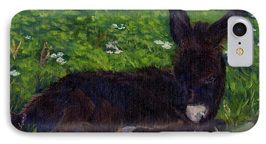 Donkey IPhone 7 Case featuring the painting Hercules by Sharon E Allen