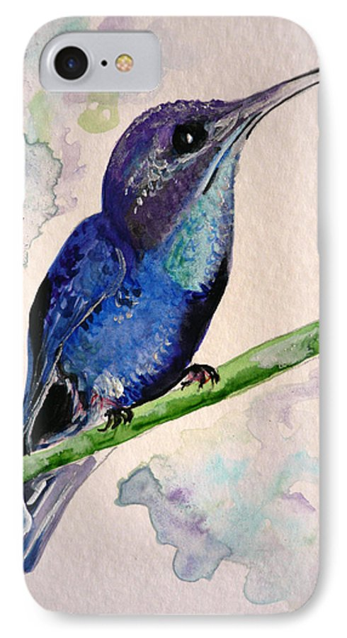 Hummingbird Painting Bird Painting Tropical Caribbean Painting Watercolor Painting IPhone 7 Case featuring the painting hHUMMINGBIRD 2  by Karin Dawn Kelshall- Best