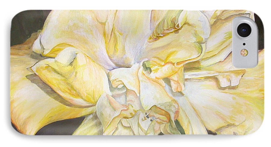 Floral Painting IPhone 7 Case featuring the painting Hibiscus Jaune by Muriel Dolemieux