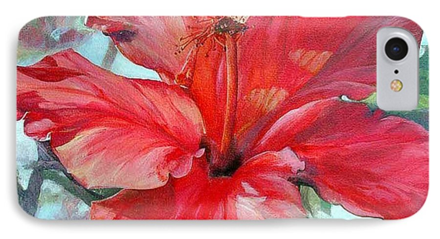 Floral Painting IPhone 7 Case featuring the painting Hibiscus Rouge by Muriel Dolemieux
