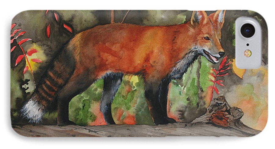 Fox IPhone 7 Case featuring the painting Hiding In Plain Sight by Jean Blackmer