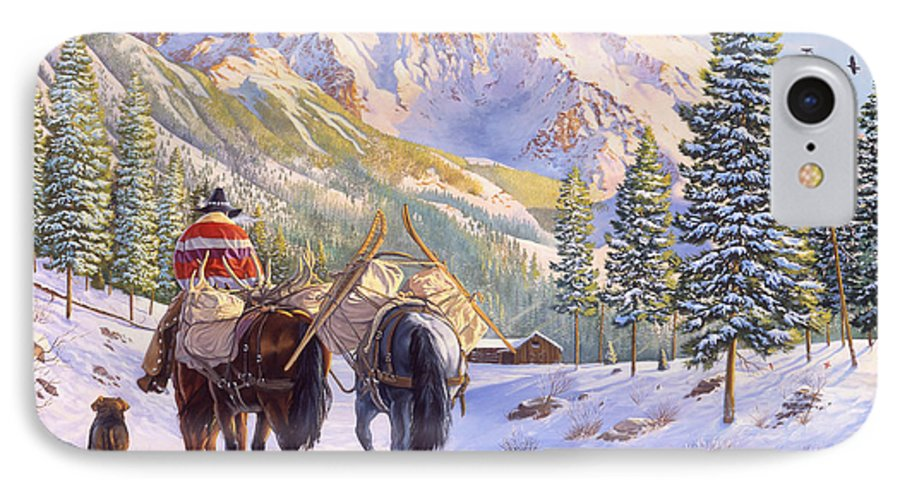 Horses IPhone 7 Case featuring the painting High Country by Howard Dubois