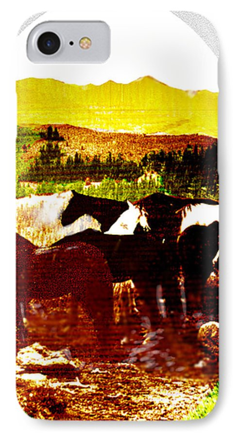 Mustangs IPhone 7 Case featuring the digital art High Plains Horses by Seth Weaver