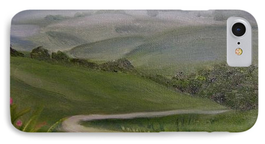 Pathway IPhone 7 Case featuring the painting Highway Into The Hills by Toni Berry