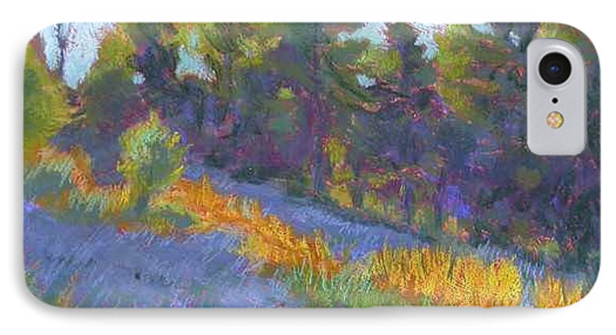 View Of Hillside And Evening Shadows IPhone 7 Case featuring the painting Hillside Shadows by Julie Mayser