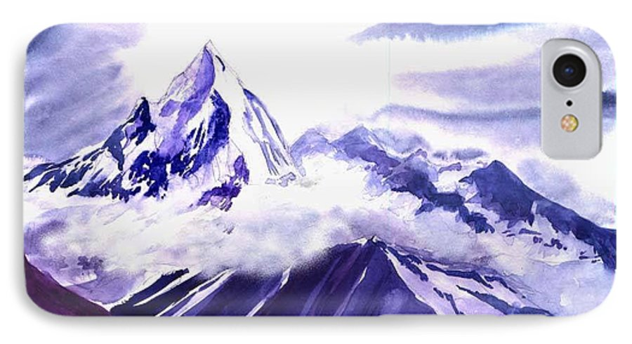 Landscape IPhone 7 Case featuring the painting Himalaya by Anil Nene