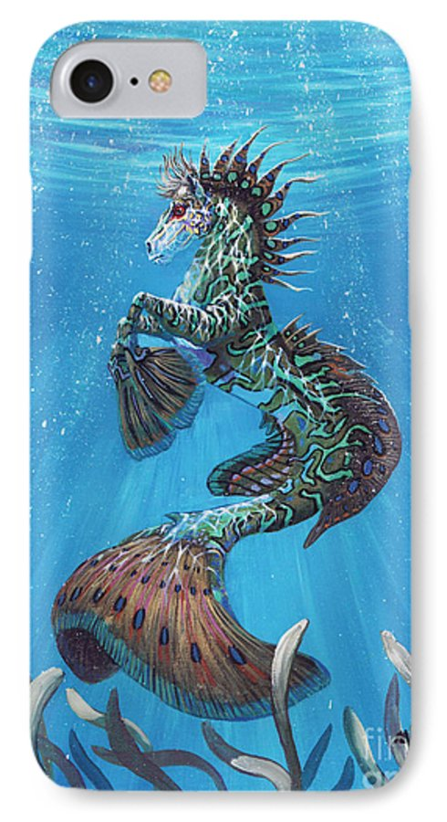 Seahorse IPhone 7 Case featuring the painting Hippocampus by Stanley Morrison