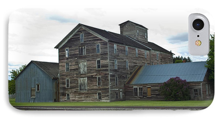 Historical IPhone 7 Case featuring the photograph Historical Barron Wheat Flour Mill In Oakesdale Wa by Louise Magno