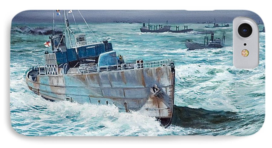 Hms Compass Rose IPhone 7 Case featuring the painting Hms Compass Rose Escorting North Atlantic Convoy by Glenn Secrest