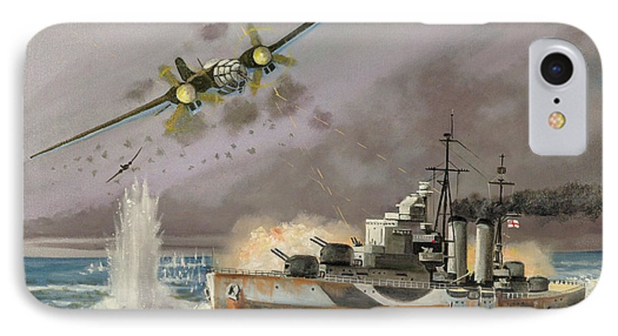 Ships That Never Were IPhone 7 Case featuring the painting Hms Ulysses Attacked By Heinkel IIis Off North Cape by Glenn Secrest