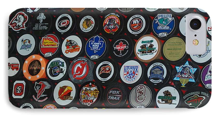 Pop Art IPhone 7 Case featuring the photograph Hockey Pucks by Rob Hans