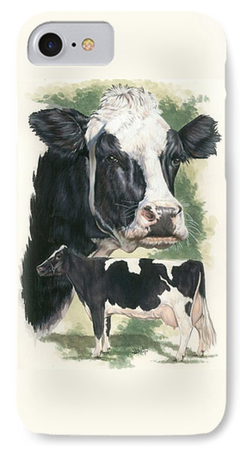Cow IPhone 7 Case featuring the mixed media Holstein by Barbara Keith