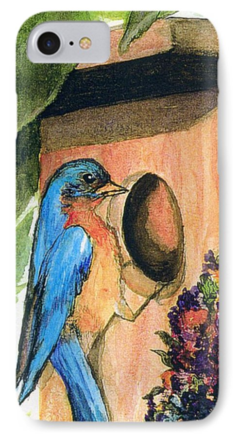 Bluebirds IPhone 7 Case featuring the painting Home Sweet Home by Gail Kirtz