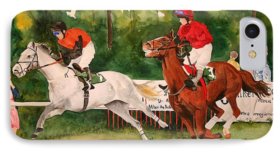 Racing IPhone 7 Case featuring the painting Homestretch by Jean Blackmer