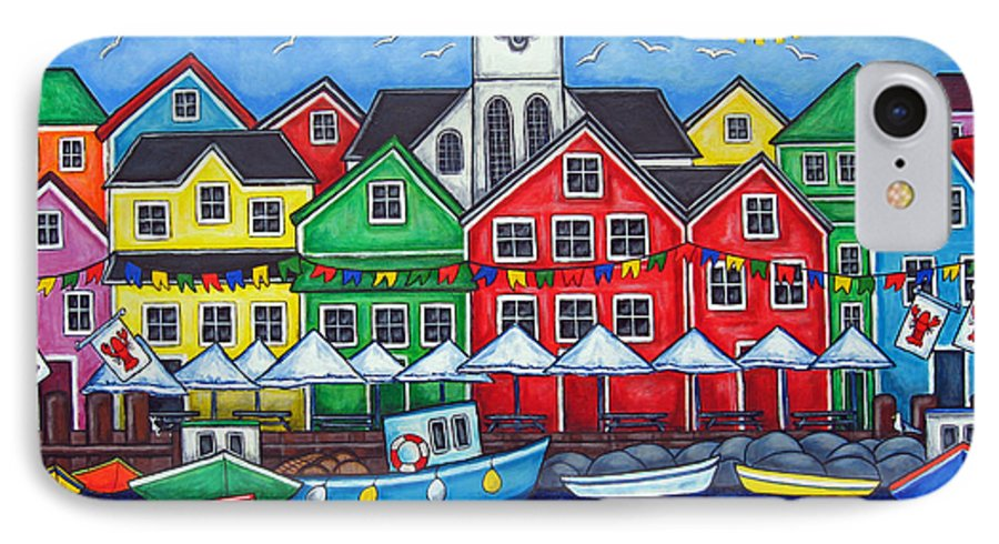 Boats Canada Colorful Docks Festival Fishing Flags Green Harbor Harbour IPhone 7 Case featuring the painting Hometown Festival by Lisa Lorenz
