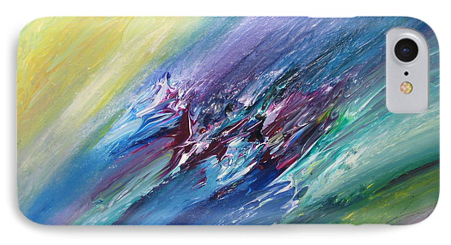 Abstract IPhone 7 Case featuring the painting Honeymoon Bliss - C by Brenda Basham Dothage