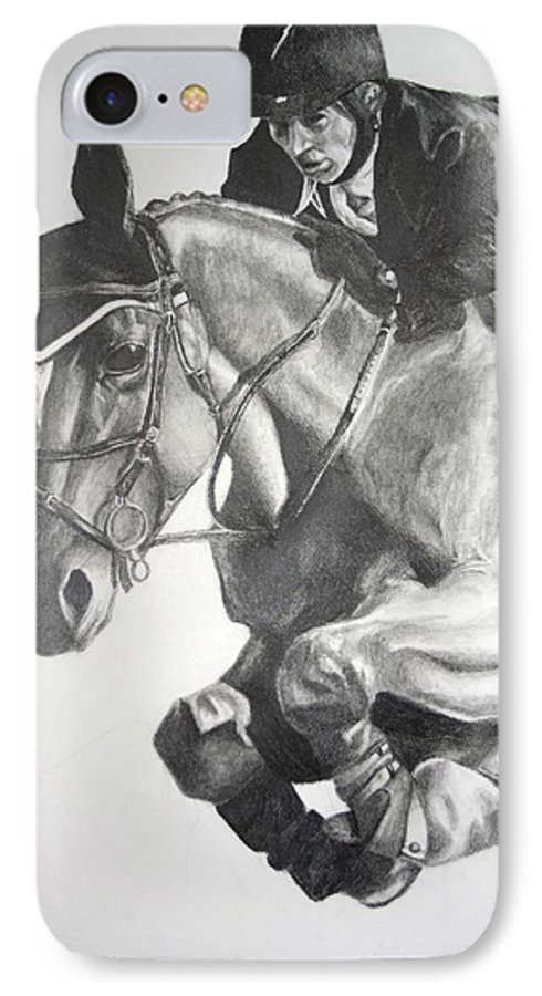 Horse IPhone 7 Case featuring the drawing Horse And Jockey by Darcie Duranceau