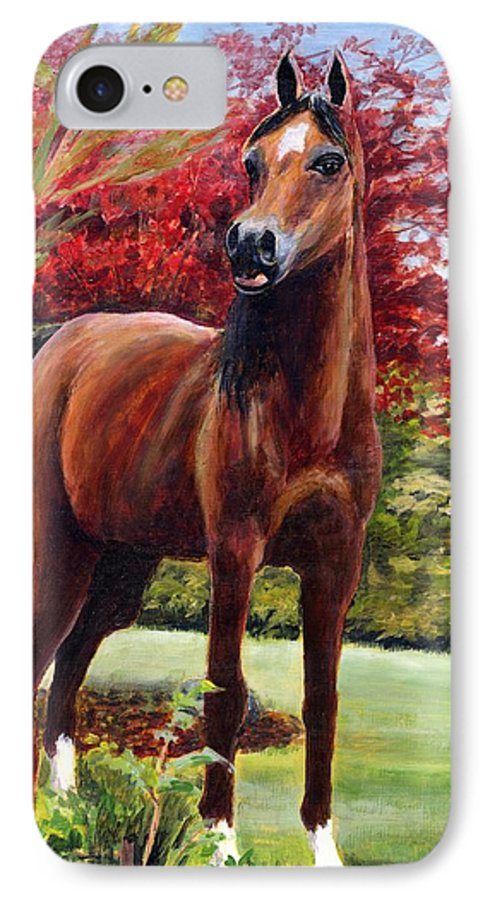 Horse IPhone 7 Case featuring the painting Horse Portrait by Eileen Fong