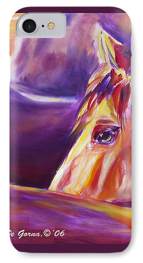 Horses IPhone 7 Case featuring the painting Horse World Detail by Gina De Gorna