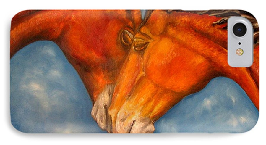 Horses IPhone 7 Case featuring the painting Horses In Love.oil Painting by Natalja Picugina