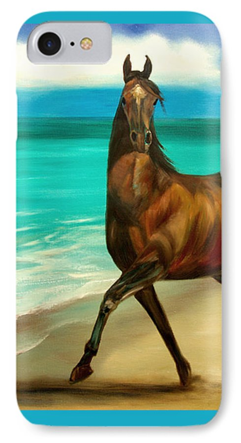 Horse IPhone 7 Case featuring the painting Horses In Paradise Dance by Gina De Gorna