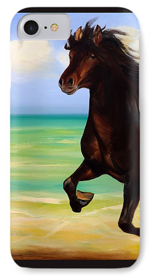 Horses IPhone 7 Case featuring the painting Horses In Paradise Run by Gina De Gorna