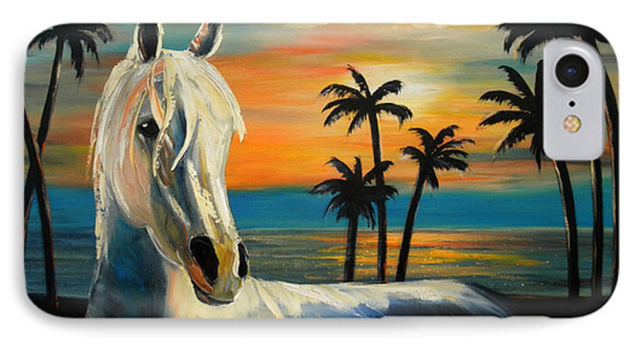 Horse IPhone 7 Case featuring the painting Horses In Paradise Tell Me Your Dream by Gina De Gorna