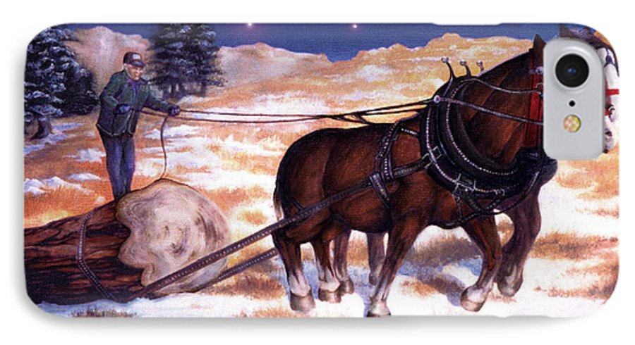 Horse IPhone 7 Case featuring the painting Horses Pulling Log by Curtiss Shaffer