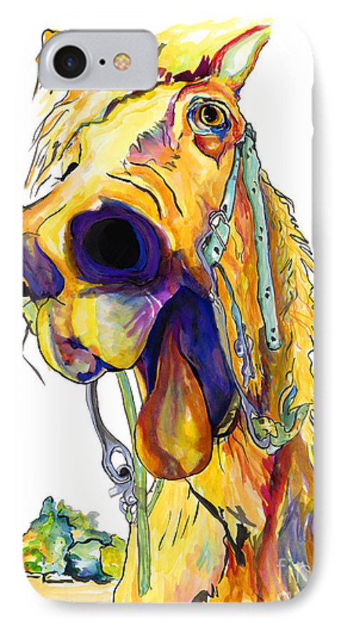 Animal Painting IPhone 7 Case featuring the painting Horsing Around by Pat Saunders-White