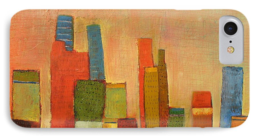 Abstract Cityscape IPhone 7 Case featuring the painting Hot Manhattan by Habib Ayat
