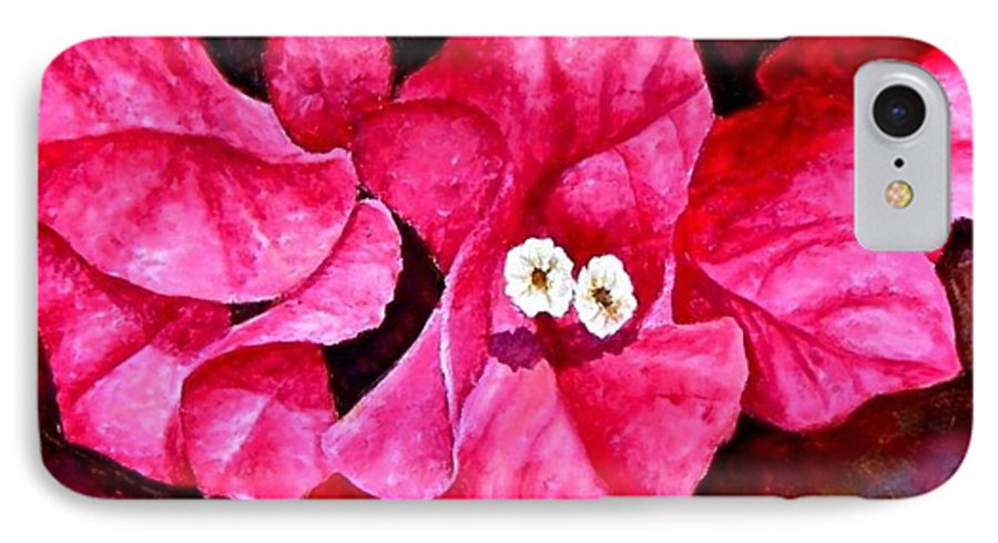 Oil IPhone 7 Case featuring the painting Hot Pink Bougainvillea by Darla Brock