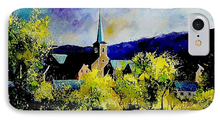 Poppies IPhone 7 Case featuring the painting Hour Village Belgium by Pol Ledent