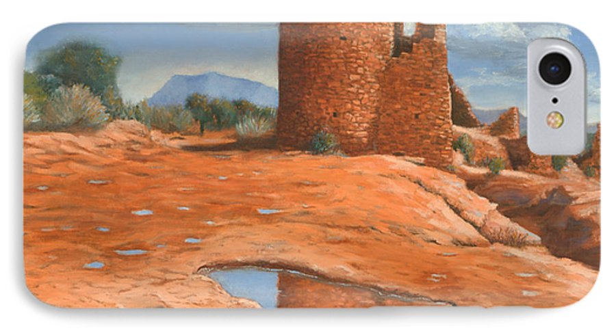 Anasazi IPhone 7 Case featuring the painting Hovenweep Reflection by Jerry McElroy