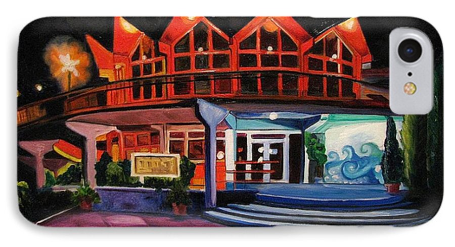 Asbury Art IPhone 7 Case featuring the painting Howard Johnsons At Night by Patricia Arroyo