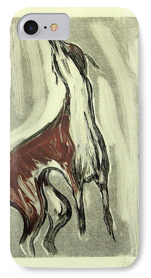 Monotype IPhone 7 Case featuring the mixed media Howling For Joy by Cori Solomon
